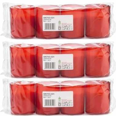 12x rode grafkaarsen/gedenklichten 5 x 6 cm 1 dag