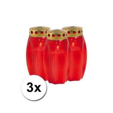 3 rode grafkaarsen 17 cm