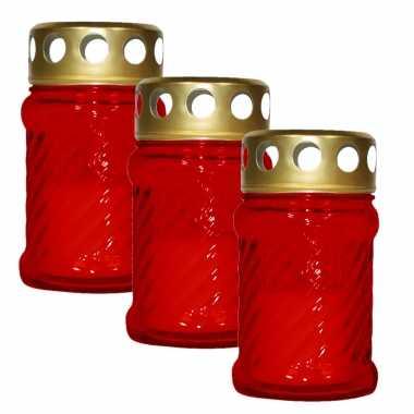 3x stuks grafkaarsen/gedenklichten met deksel rood 7 x 12 cm 10 uren brandtijd