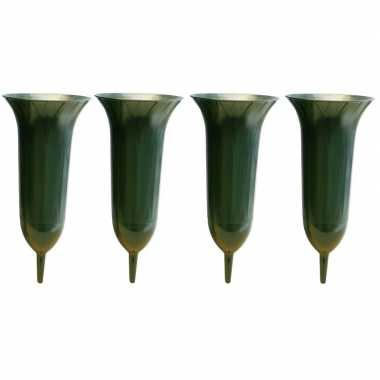 4x groene kunststof grafvazen 26 cm