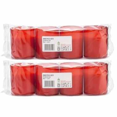 8x rode grafkaarsen/gedenklichten 5 x 6 cm 1 dag