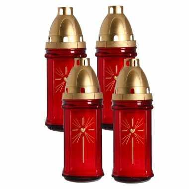 Set van 4x stuks horror decoratie grafkaars/gedenklicht met deksel rood 8 x 22 cm 3 dagen brandtijd