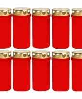 10x rode grafkaarsen gedenklichten met deksel 6 x 12cm 2 dagen