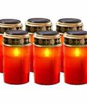 Set van 6x stuks rode solar grafkaarsen lichtjes 12 cm